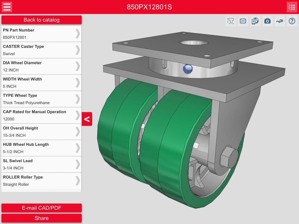 Explore 3D caster CAD Models with Caster CAD 3D